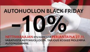 Varaa autollesi huolto netistä perjantaina, saat BLACK FRIDAY -tarjouksena laskusi loppusummasta -10%! Tarkempaa tietoa tarjouks...