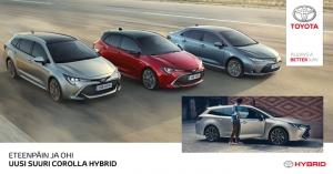 Se on iso, se on tehokas, se on hybridi ja se näyttää hyvältä! Se on uudestisyntynyt Toyota Corolla, kolmella korimallilla ja kahdella eri hybridivoimalinjalla. NYT VIIKONLOPPUNA ENSIESITTELYSSÄ LA 30.3. JA SU 31.3. Tervetuloa!